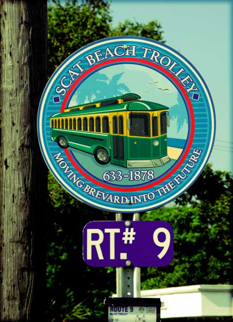Cocoa Beach Trolley Sign