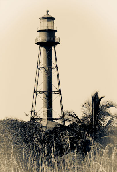 Sanibel Lighthouse Vintage Vignette