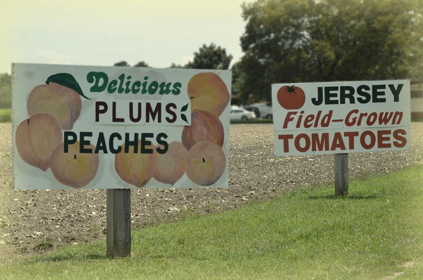Jersey Fresh Vegetables and Fruits Sign
