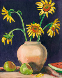 Sunflowers, pears, watermelon painting